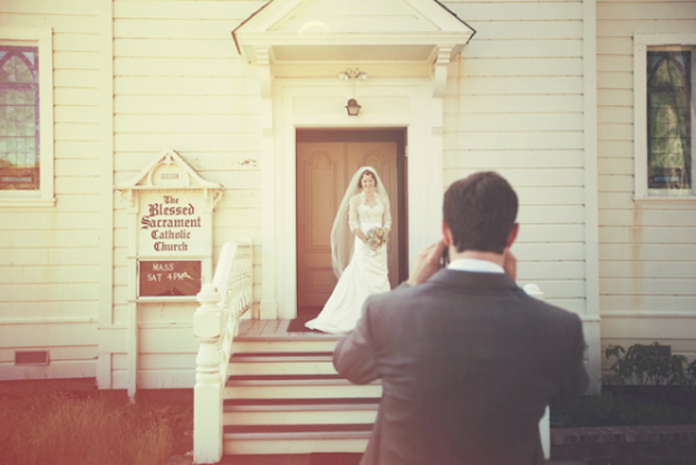 vintage wedding at a chapel