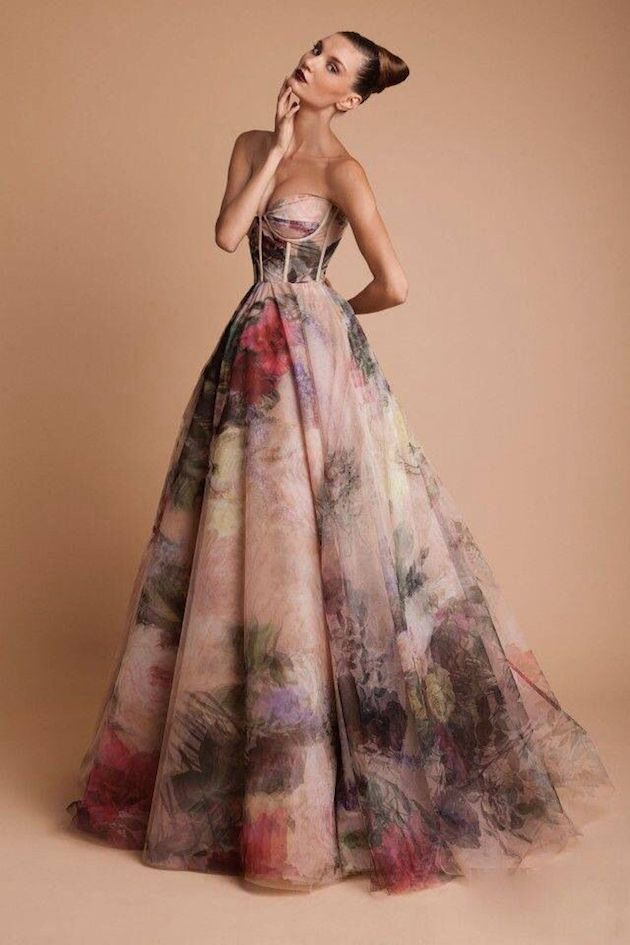 15 head over heels gorgeous floral wedding dresses for Black floral dress to a wedding