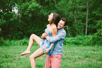 Adorably Fun Creek and Meadow Engagement Shoot