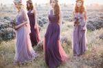 Jenny Yoo bridesmaids in purple dresses