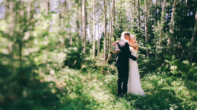 Bride and Groom dancing on a forest. Elsa and Joel - Frames taken from Wedding Highlights Film.