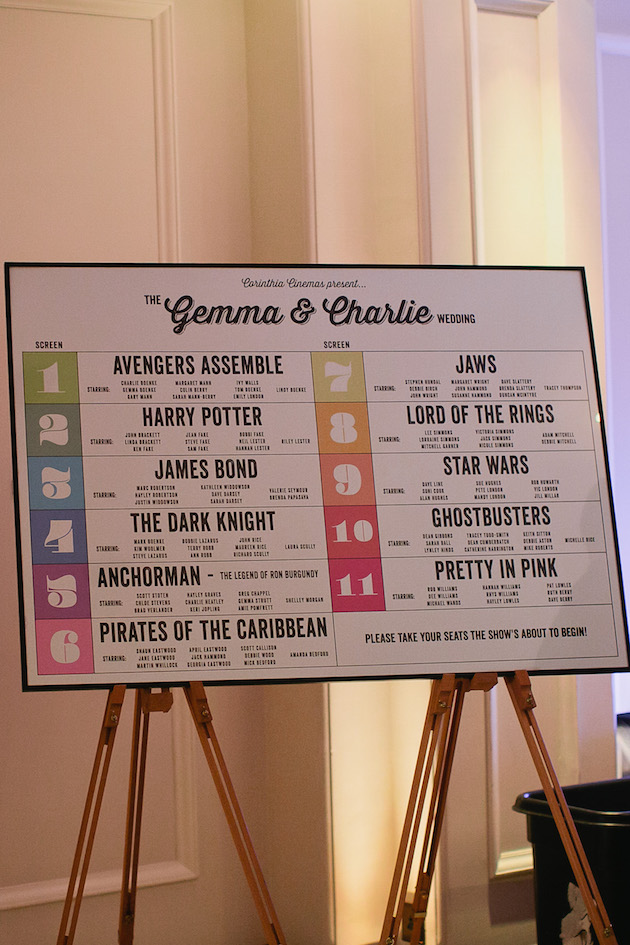 film themed seating chart