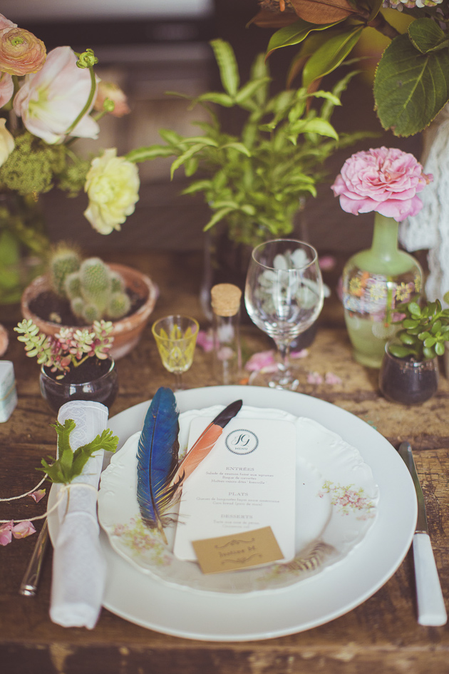 Vintage Plates and Feathers| Camille Marciano for Junophoto | Bridal Musings Wedding Blog 23