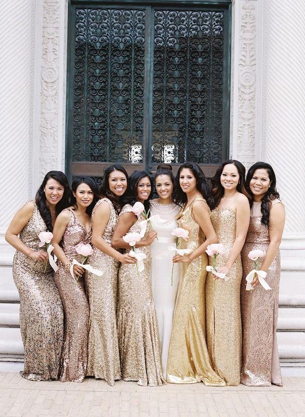 vestidos para madrinhas de casamento dourado