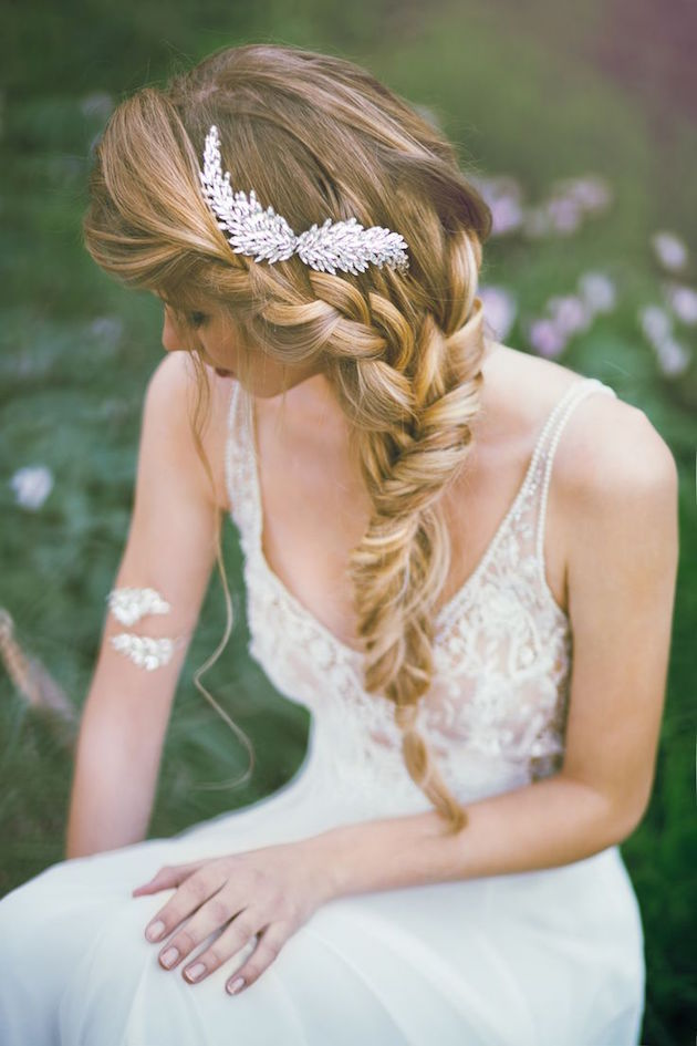 Wedding hairstyles side ponytail with flower