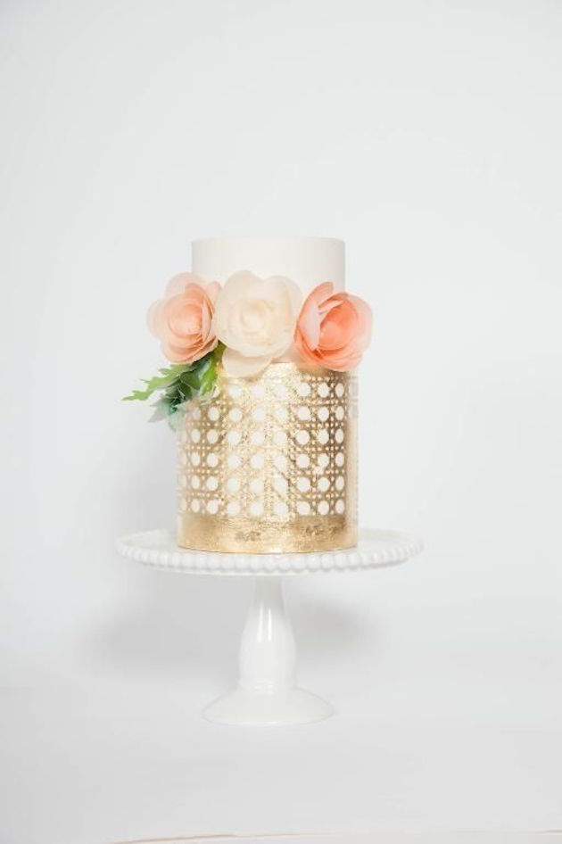 Gold Leaf and Glitter Wedding Cakes and Wedding Desserts