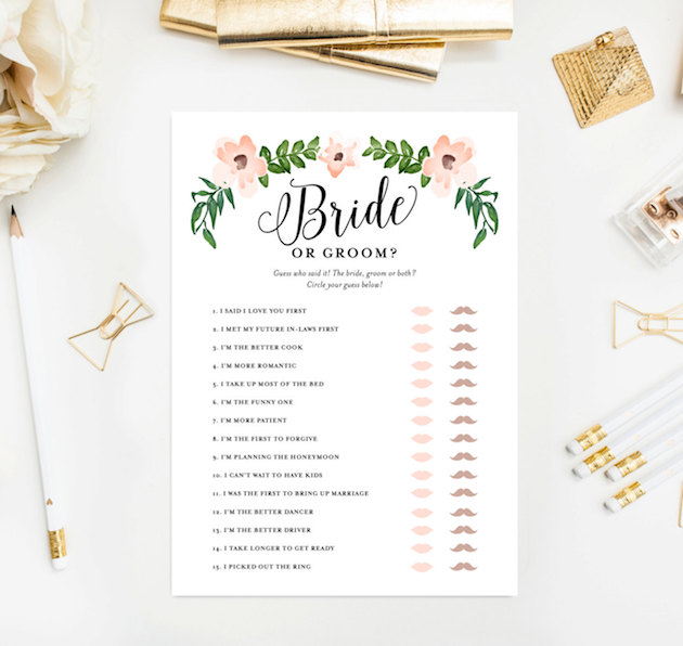 he said she said game printable 630x596 Top Result 60 Best Of Templates for Bridal Shower Games Pic 2017 Phe2